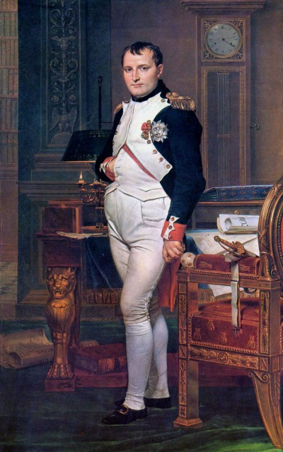Napoleon (1769-1821) in zijn werkkamer, geschilderd in 1812 door Jacques Louis David (National Gallery of Art).